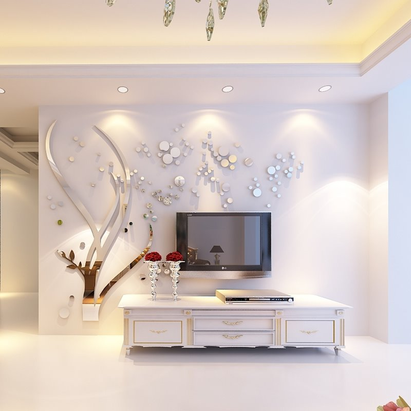 Silver Branches and Round Dots Acrylic Mirror Waterproof and Eco-friendly 3D Wall Stickers