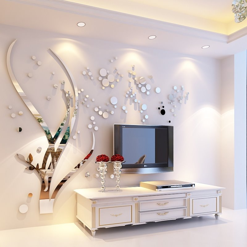 Silver Branches And Round Dots Acrylic Mirror Waterproof