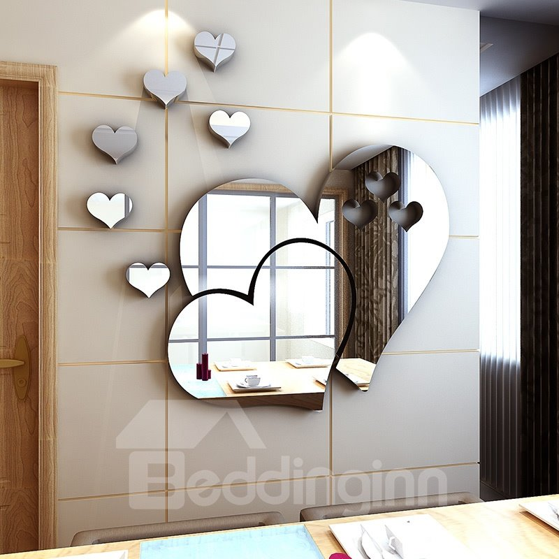 Silver Heartshaped Acrylic Mirror Waterproof And Ecofriendly D - Wall decals mirror