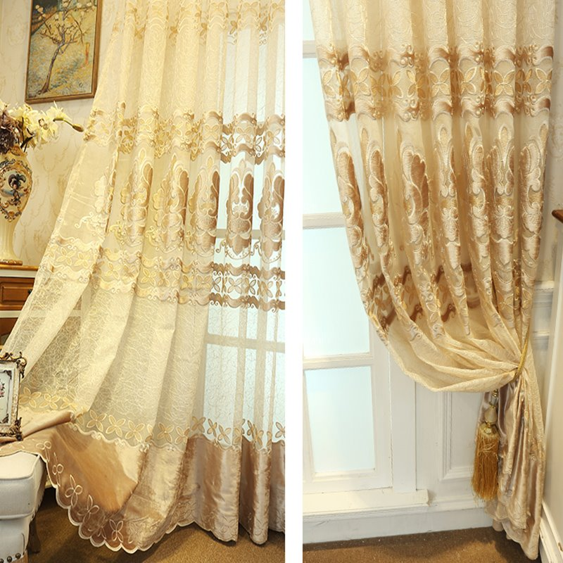 Decoration and Blackout Embroidery Beige Color Damask Modern Style Sheer Curtain and Drapes