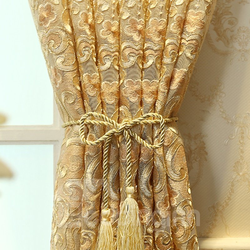Decoration Polyester Artificial Embroidery Luxury Style Beige Color Flowers Sheer Curtain