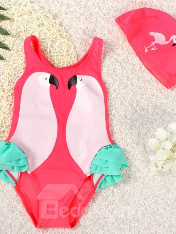 Pink Parrot Printed Spandex Red Girls One-Piece Swimsuit