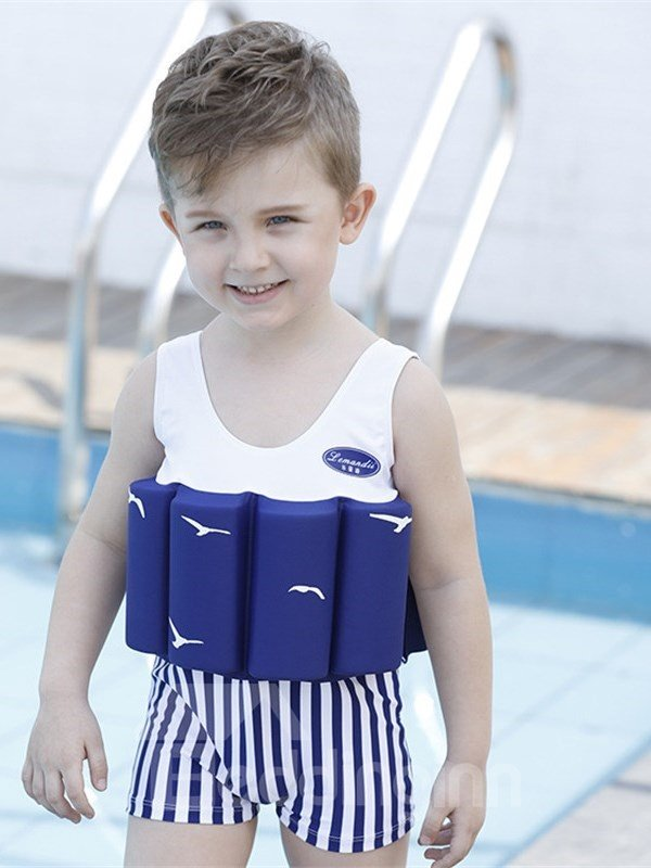 Float Stripes Pattern Polyester and Chinlon Fabrics Blue Boys One Piece Swimsuit