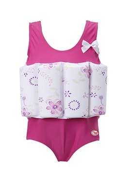 Float Flowers Printed Polyester and Chinlon Fabrics Pink Girls One-Piece Swimsuit