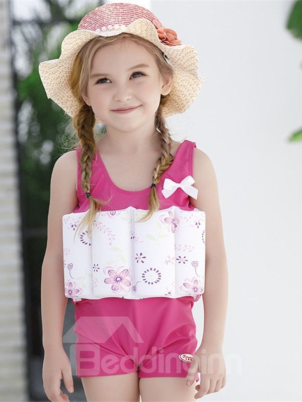 Float Flowers Printed Polyester and Chinlon Fabrics Pink Girls One Piece Swimsuit