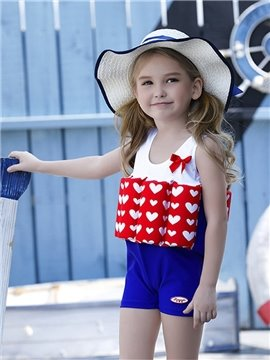 Float Heart Shape Printed Polyester and Chinlon Fabrics Girls Swimsuit