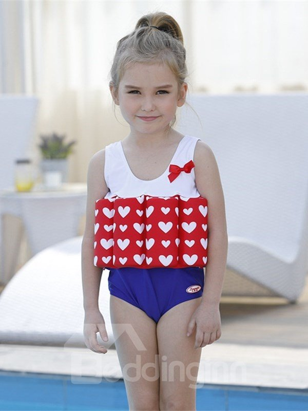 Float Heart Shape Printed Polyester and Chinlon Fabrics Girls One-Piece Swimsuit