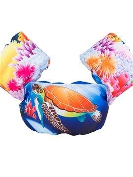 Float Turtle Pattern Non-Woven Fabrics Blue Kids Swimwear