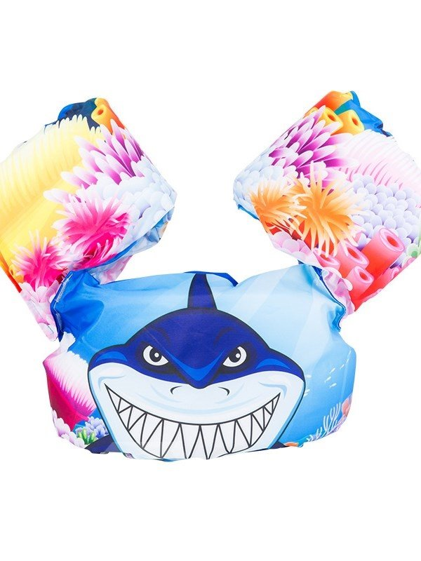 Float Shark Pattern Non-Woven Fabrics Blue Kids Swimwear