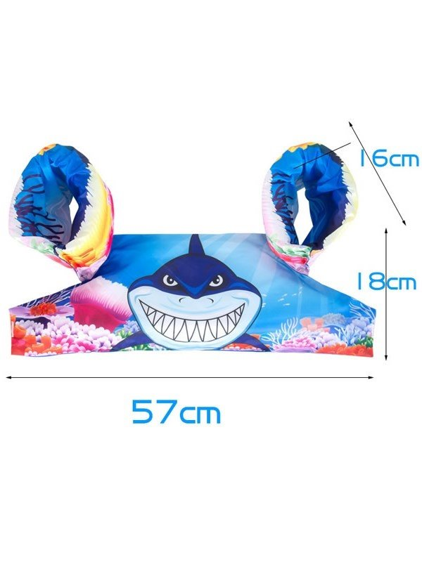 Float Shark Pattern Non-Woven Fabrics Blue Kids Swimwear