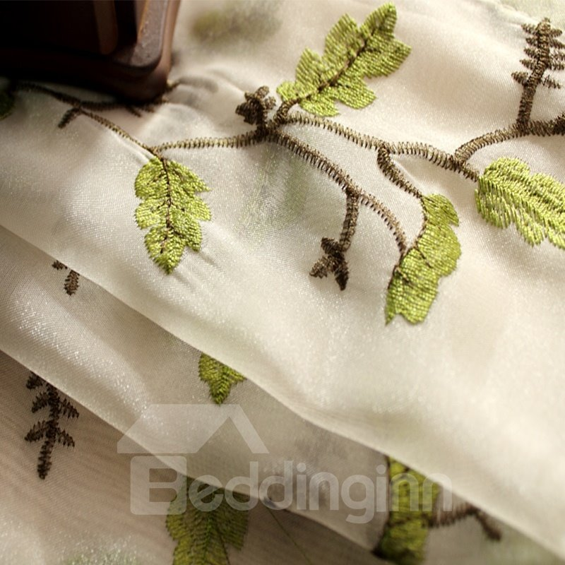 Decoration Polyester Embroidery Organza Small Branches Pastoral Style Sheer Curtain and Drapes