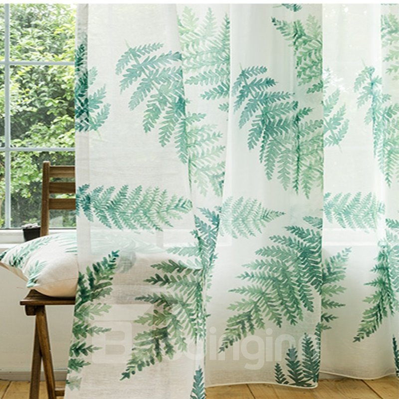 Decoration and Dust-Proof Polyester Printing Spring Fern Fresh Style Sheer Curtain