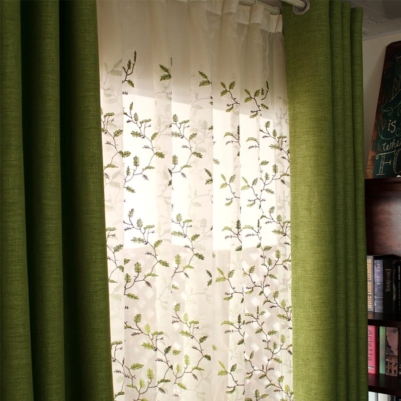 Blackout and Decoration Polyester Plain Weave Green Solid Modern Style Grommet Top Curtain