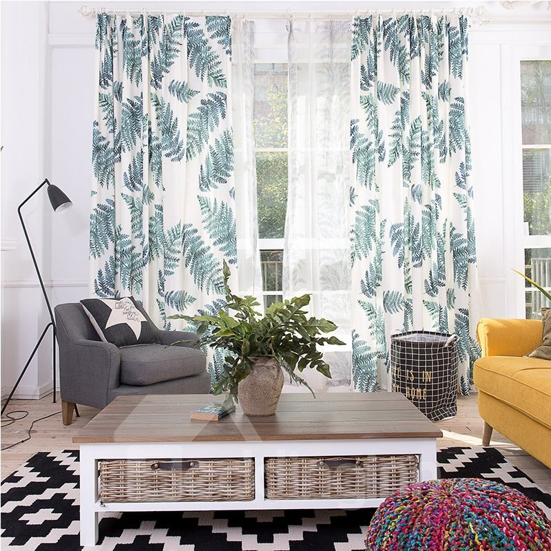 Decoration and Blackout Polyester Printing Spring Fern Modern Style 2 Panels Curtain
