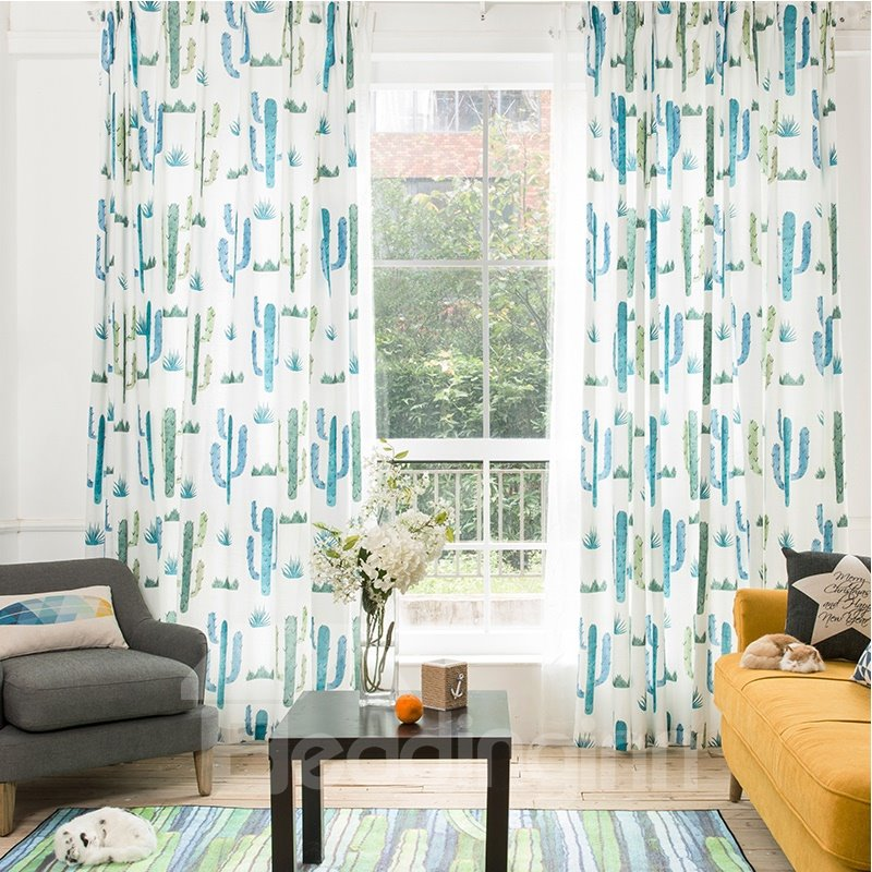 Decoration and Blackout Polyester Printing Cactus Country Pastoral Style Grommet Top Curtain