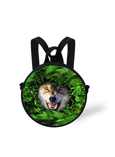Wolf Forest 3D Pattern Round School Bag Shoulders Backpack
