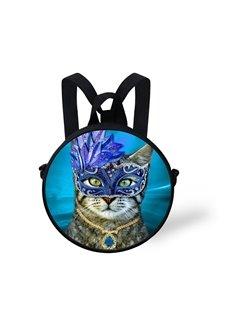 Blue Mask Cat 3D Pattern Round School Bag Shoulders Backpack