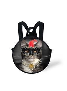Cat with Black Mask 3D Pattern Round School Bag Shoulders Backpack