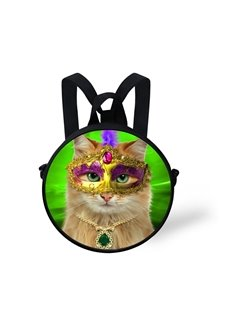 Cat with Mask Halloween 3D Pattern Round School Bag Shoulders Backpack