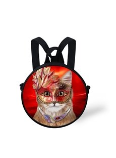Cat Red Mask 3D Pattern Round School Bag Shoulders Backpack