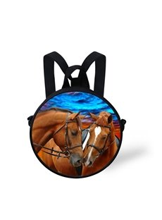 3D Couple Horses are Kissing with Love Polyester Outdoor Backpack