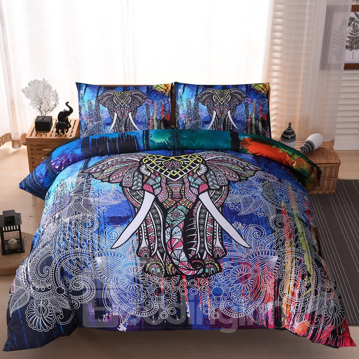 3D Colorful Elephant Printed Ethnic Style Polyester 3-Piece Bedding Sets/Duvet Covers
