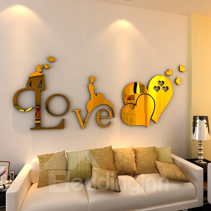 Golden Love and Heart-Shaped Pattern Acrylic Mirror Waterproof and Eco-friendly 3D Wall Stickers