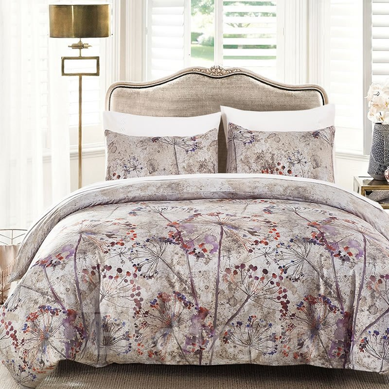 Ink and Wash Painting Flowers Printed Polyester 3-Piece Bedding Sets/Duvet Cover