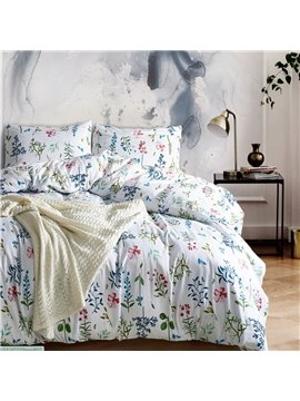 Pastoral Style Watercolor Flowers Printed Polyester 3-Piece Bedding Sets/Duvet Cover