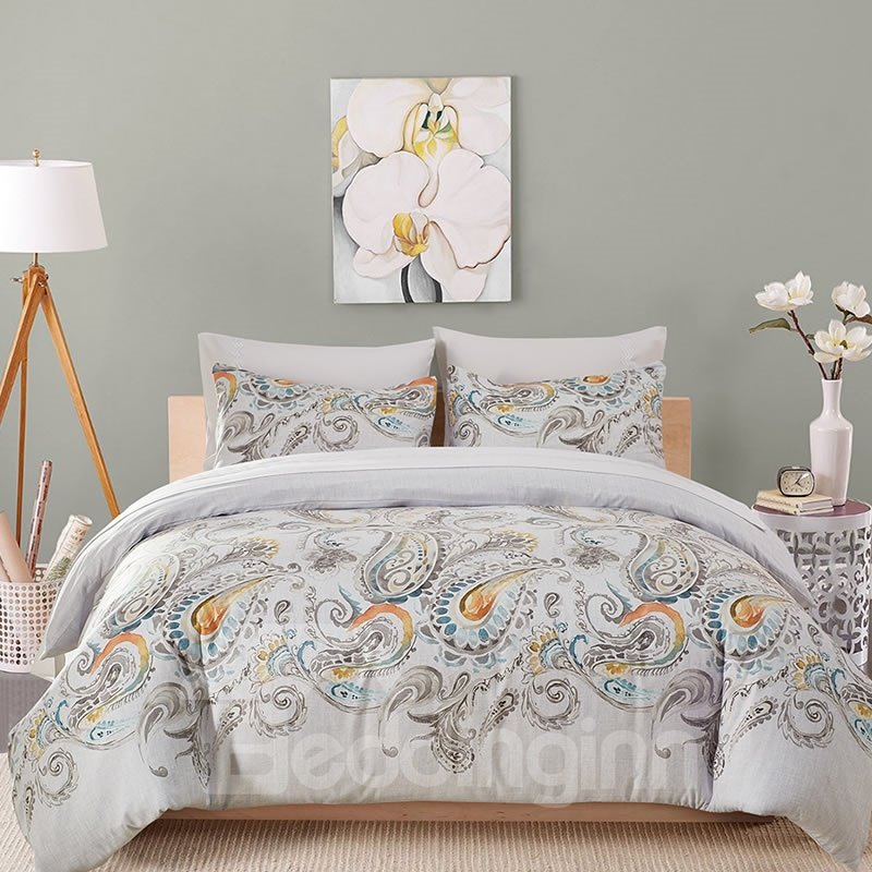 Peacock Tails Wash Painting Printed Polyester 3-Piece Bedding Sets/Duvet Cover