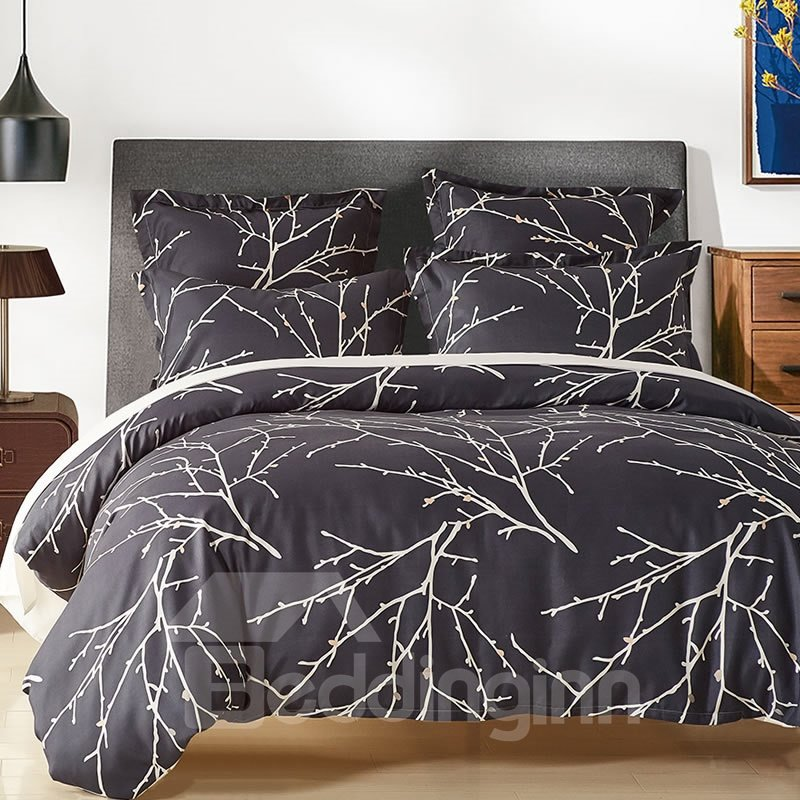 Double Printed Branches Black Polyester 3-Piece Bedding Sets/Duvet Cover