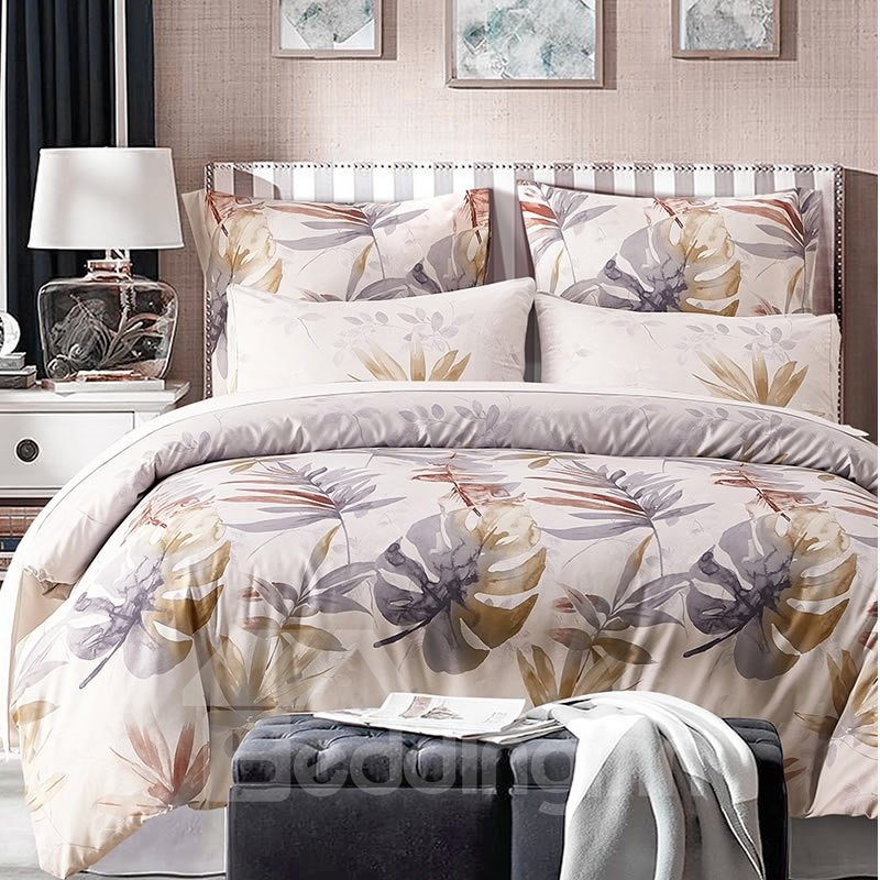 Tropical Leaves Printed Pastoral Style Beige Polyester 3-Piece Bedding Sets/Duvet Cover