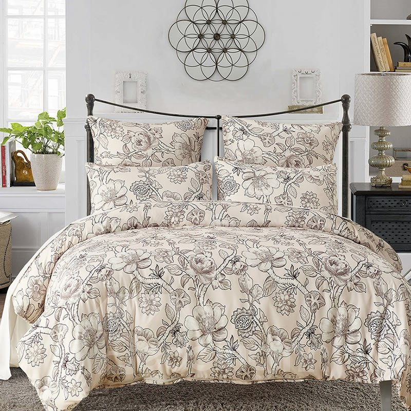 Pastoral Style Floral Printed Polyester 3-Piece Bedding Sets/Duvet Cover