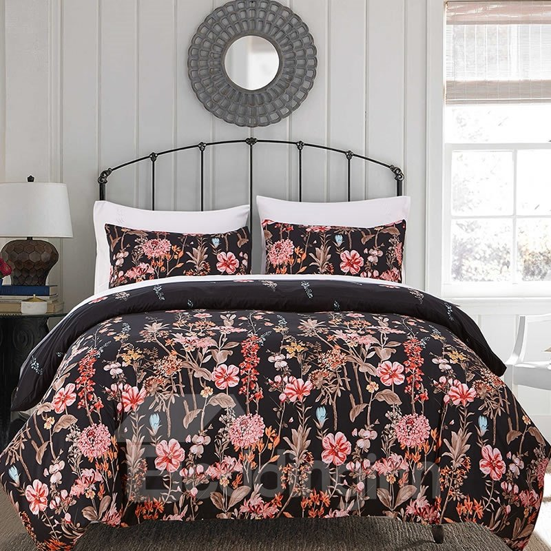 Colorful Flowers Printed Pastoral Style Black Polyester 3-Piece Bedding Sets/Duvet Cover