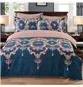 Double Printed Flowers Ethnic Style Blue Polyester 3-Piece Bedding Sets/Duvet Cover