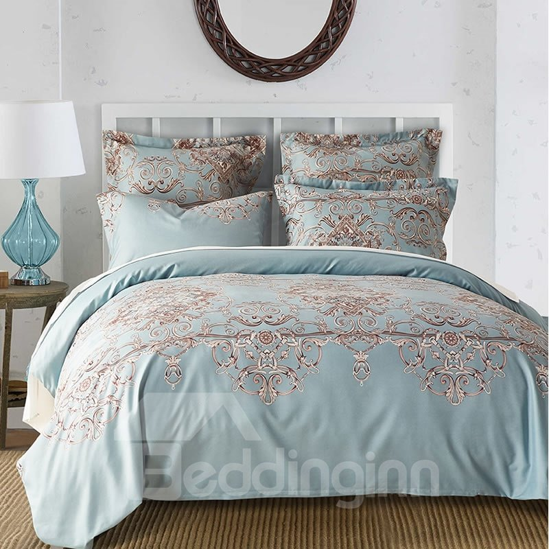 Chic Swirls Ethnic Style Light Blue Polyester 3-Piece Bedding Sets/Duvet Cover