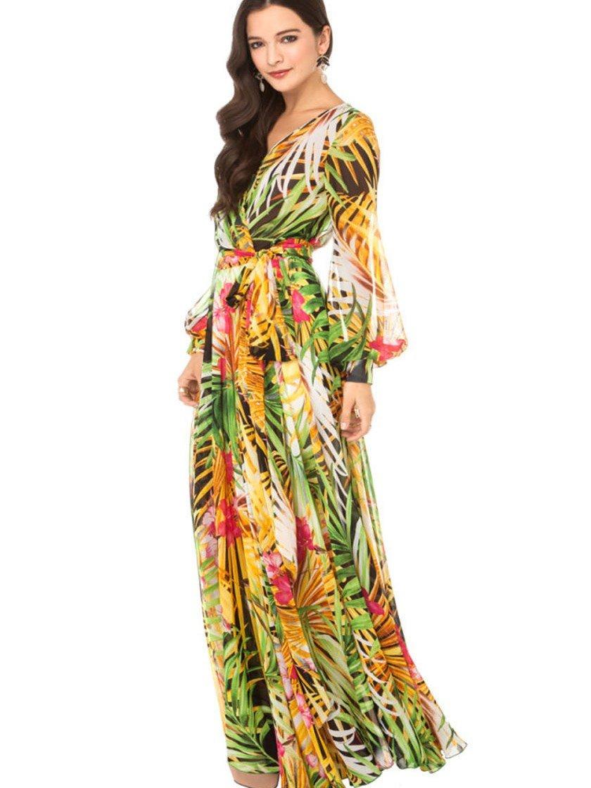 Tropical Rainforest Plant Flower See-Through Look Long Summer Dress