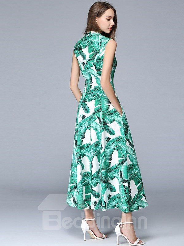 High Split Long Tropical Palm Leaf Print Sexy Women