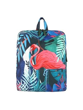 Tropical Leaves and Flamingo Canvas Schoolbag for Boy&Girls Backpack