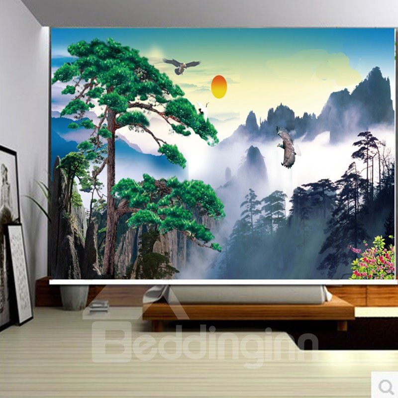3D Pine and Mountain with Gooses Printed Natural Scenery Polyester Curtain Roller Shade