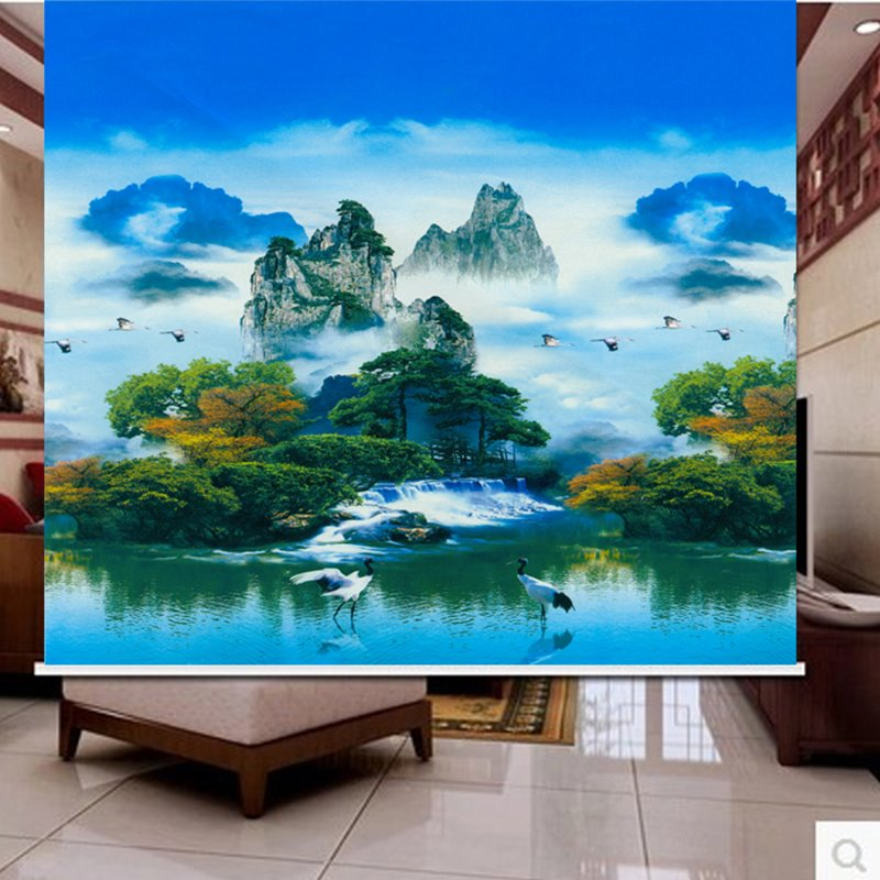 3D Mountains and Clouds with Cranes Printed Natural Style Polyester Curtain Roller Shade