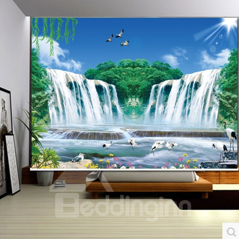 3D Beautiful Cranes with Mountains and Rivers Printed Natural Scenery Polyester Decoration Curtain