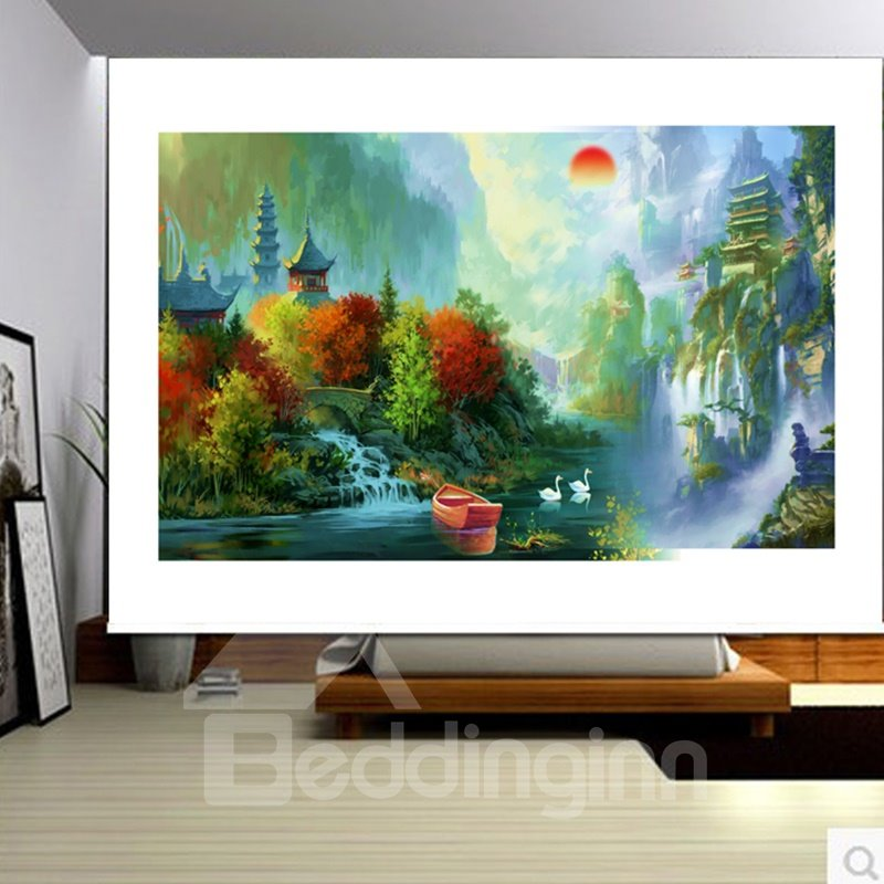 3D Towers and Small River with Ducks Printed Oil Painting Polyester Blackout Curtain