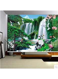 3D Cranes and Lotus with Waterfalls Printed Natural Scenery Decoration Curtain Roller Shade