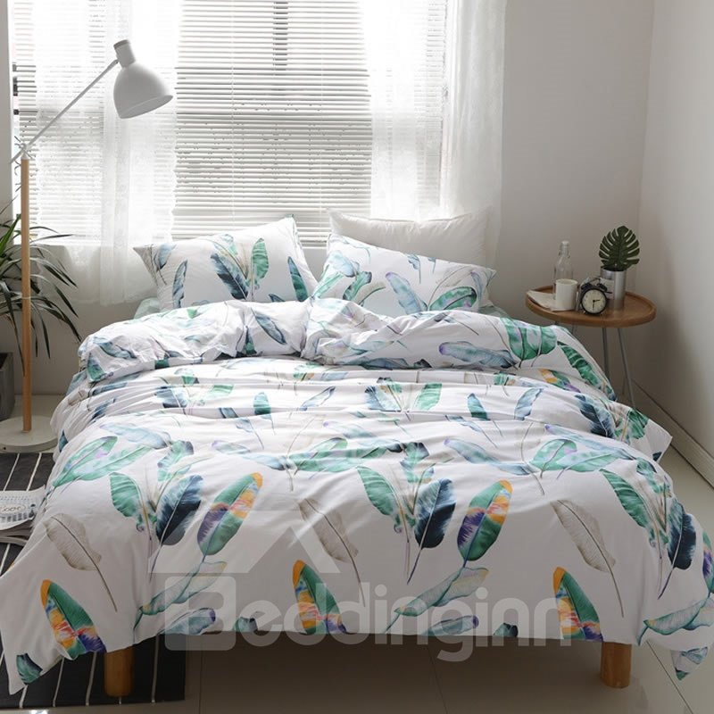 Green Leaves Fresh Style White Cotton 4-Piece Bedding Sets/Duvet Cover