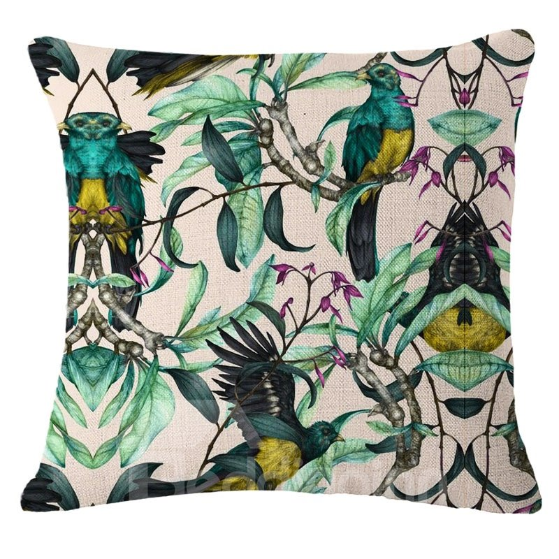 Hand-Painted Tropical Birds and Foliage Plants Linen Throw Pillow