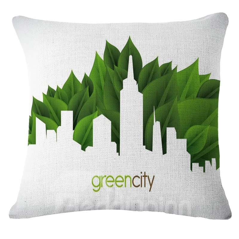 Emerald Trees Green City Pattern White Linen Throw Pillow