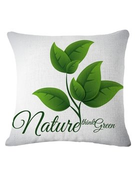 Emerald Green Leaves Pattern White Linen Throw Pillow
