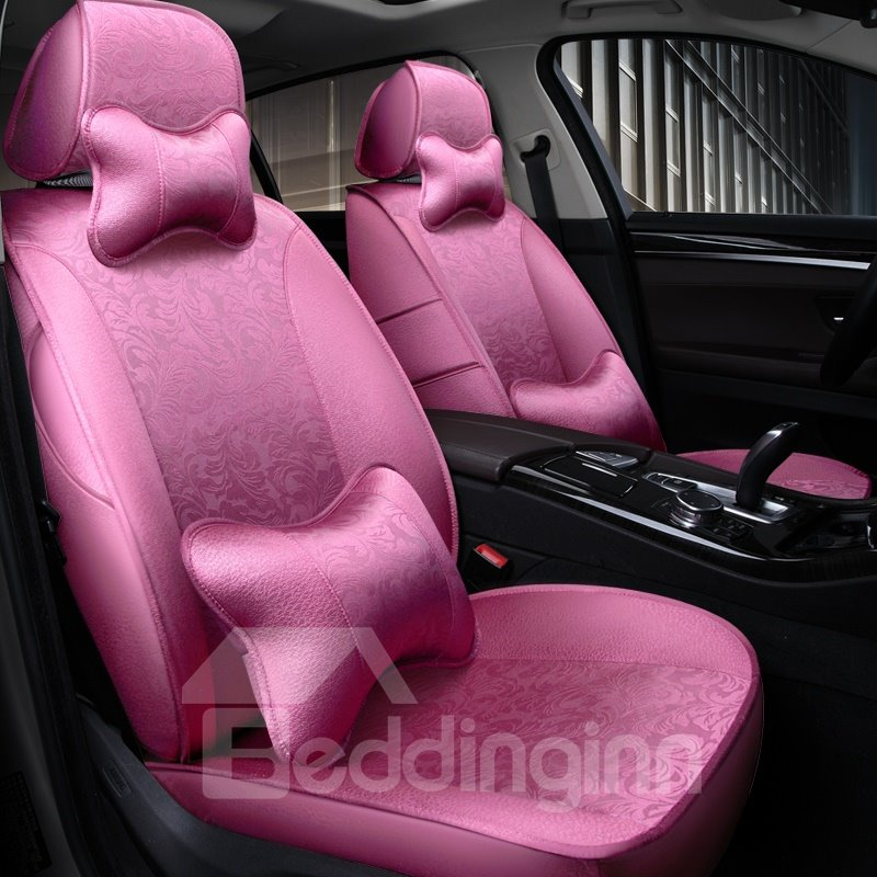 Silky Smooth Luxury Flowers Pattern With Pillows Custom Fit Car Seat Covers
