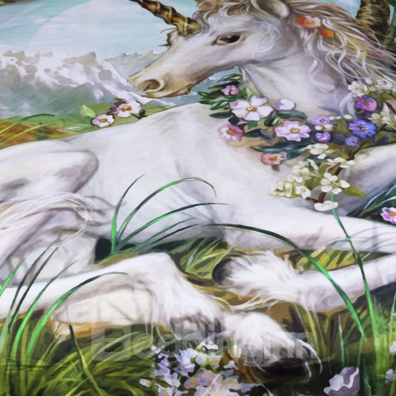 3D Unicorn with Garland Printed Polyester 3-Piece Bedding Sets/Duvet Covers